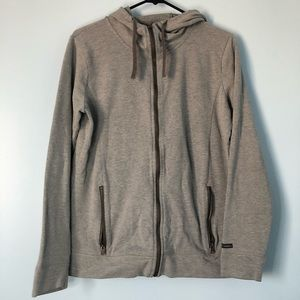 Columbia Gray Zip Up Sweater Cowl Neck Pockets